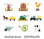colored farm and farming icons... | Shutterstock . vector #209496190