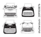 hand drawn vector typewriters   Shutterstock .eps vector #209503876