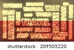travel relative tags cloud on... | Shutterstock . vector #209505220