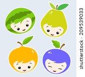 cute cartoon fruit faces.... | Shutterstock .eps vector #209539033