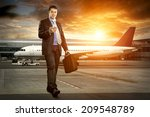 businessman with baggage in... | Shutterstock . vector #209548789