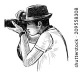 photograph in a hat | Shutterstock . vector #209558308