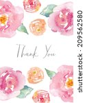 Thank You Card With Watercolor...