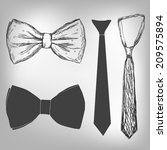 bowtie and neck tie | Shutterstock .eps vector #209575894