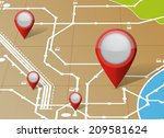 map and locator pointers... | Shutterstock . vector #209581624