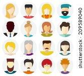 set of flat people icons....