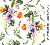 watercolor vintage floral... | Shutterstock . vector #209589148