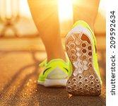 Runner Woman Feet Running On...