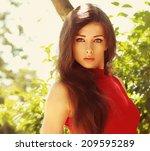 bright portrait of beautiful... | Shutterstock . vector #209595289