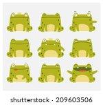 Emotional Cute Frogs. Cartoon...