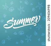 summer typography blue | Shutterstock .eps vector #209606998