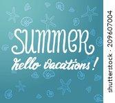 summer lettering blue | Shutterstock .eps vector #209607004