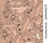vector decorative floral... | Shutterstock .eps vector #209608270