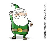 cartoon santa claus punching air | Shutterstock . vector #209616814