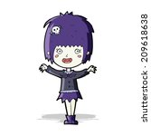 cartoon happy vampire girl | Shutterstock . vector #209618638