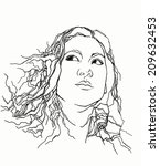 portrait of a girl   contour  ...   Shutterstock . vector #209632453