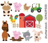 farm animal vector illustration   Shutterstock .eps vector #209639500