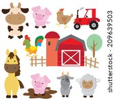 farm animal vector illustration   Shutterstock .eps vector #209639503