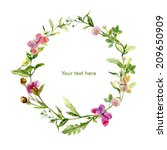 Stock photo wreath border frame with wild herbs meadow flowers and butterflies watercolour 209650909