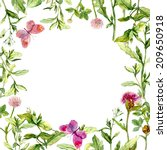 border frame with wild herbs ... | Shutterstock . vector #209650918