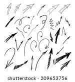 vector set of doodle arrows | Shutterstock .eps vector #209653756