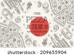 vintage pizza frame | Shutterstock .eps vector #209655904