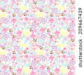 vector seamless pattern with... | Shutterstock .eps vector #209667439