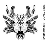 Psychedelic Ethnic Cow Scull...