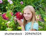 portrait of young girl with... | Shutterstock . vector #209696524
