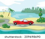 luxury car on the seaside  with ...   Shutterstock .eps vector #209698690