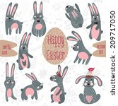 funny vector set  ten rabbits.... | Shutterstock .eps vector #209717050