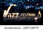jazz festival saxophone silver... | Shutterstock . vector #209718979
