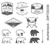 Set Of Vintage Bear Icons ...