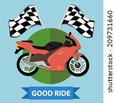 racing motorcycle badge   flat... | Shutterstock .eps vector #209731660