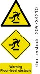 warning floor level obstacle  | Shutterstock .eps vector #209734210