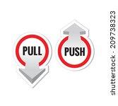 pull push door signs stickers... | Shutterstock .eps vector #209738323