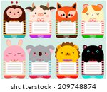 Stock vector cute animals note set 209748874