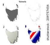 Tasmania blank detailed outline map set - vector version