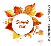 autumn leaves and splashes... | Shutterstock .eps vector #209765806