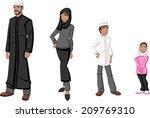 happy cartoon family. muslim... | Shutterstock .eps vector #209769310