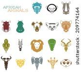african animal icons portrait...   Shutterstock .eps vector #209774164