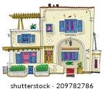 hotel on santorini island ...   Shutterstock .eps vector #209782786