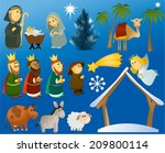 set of christmas scene elements  | Shutterstock . vector #209800114