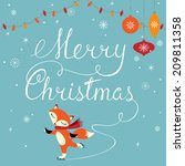 christmas greeting card with... | Shutterstock .eps vector #209811358