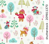 christmas pattern with cute... | Shutterstock .eps vector #209811370