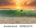 surfer at sunrise with perfect... | Shutterstock . vector #209822374