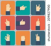 hands flat icon. vector... | Shutterstock .eps vector #209827900