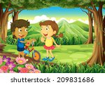 illustration of a forest with... | Shutterstock . vector #209831686