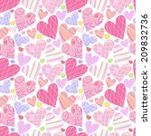seamless background with hearts  | Shutterstock .eps vector #209832736
