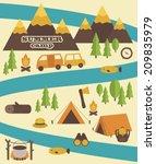 summer camp card design. vector ...   Shutterstock .eps vector #209835979